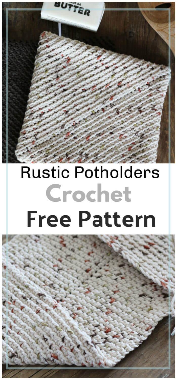 Free Crochet Rustic Potholders Pattern