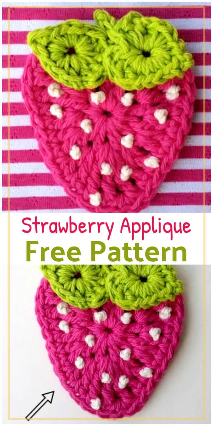 Free Crochet Strawberry Applique Pattern