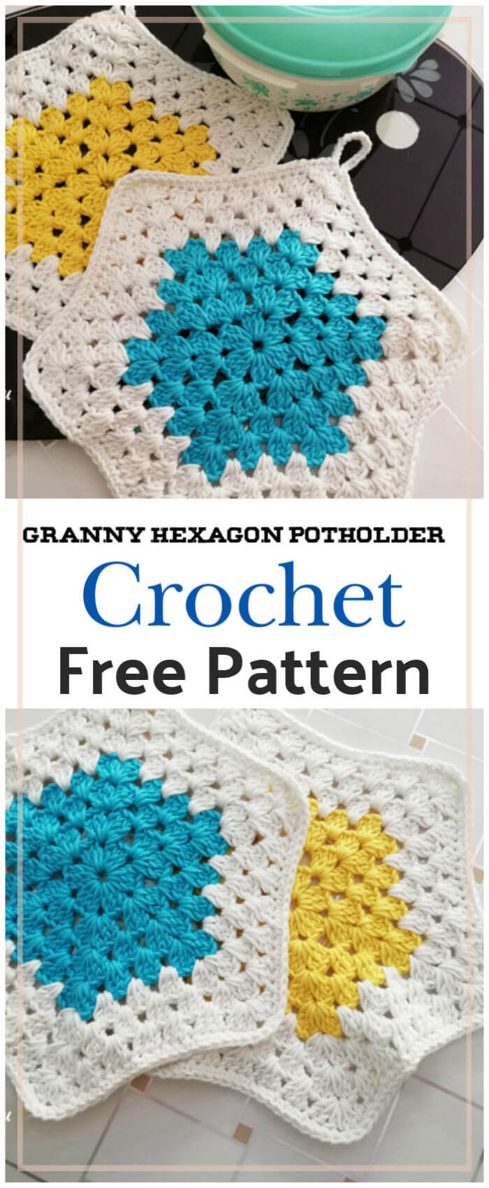 Granny Hexagon Potholder Free Crochet Pattern