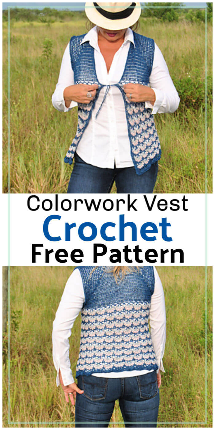 Highland Twilight Crochet Colorwork Vest Free Pattern