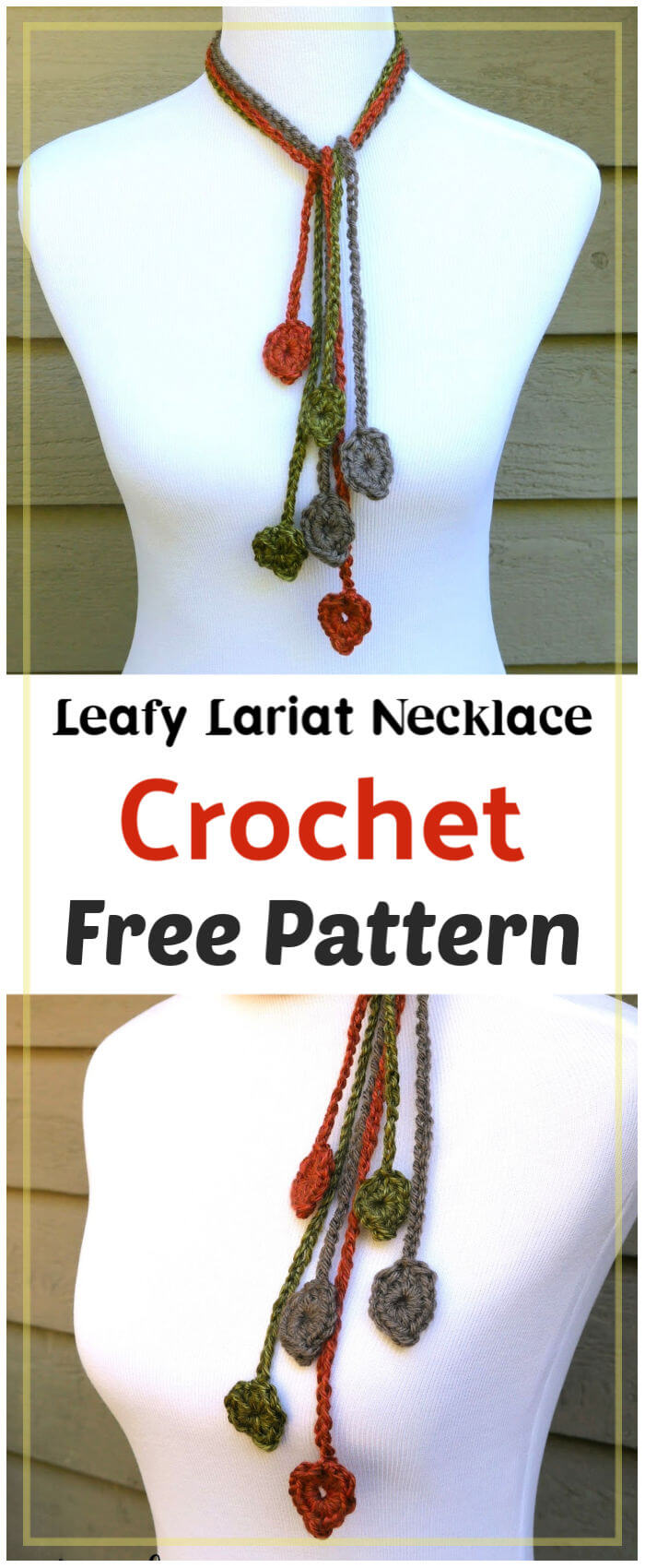 Leafy Lariat Necklace Free Crochet Pattern