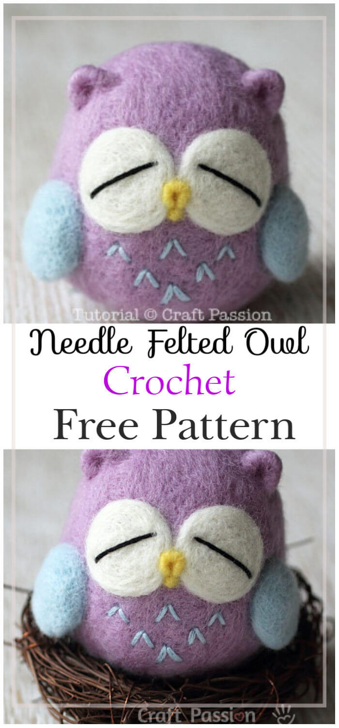 Needle Felted Owl Free Crochet Pattern