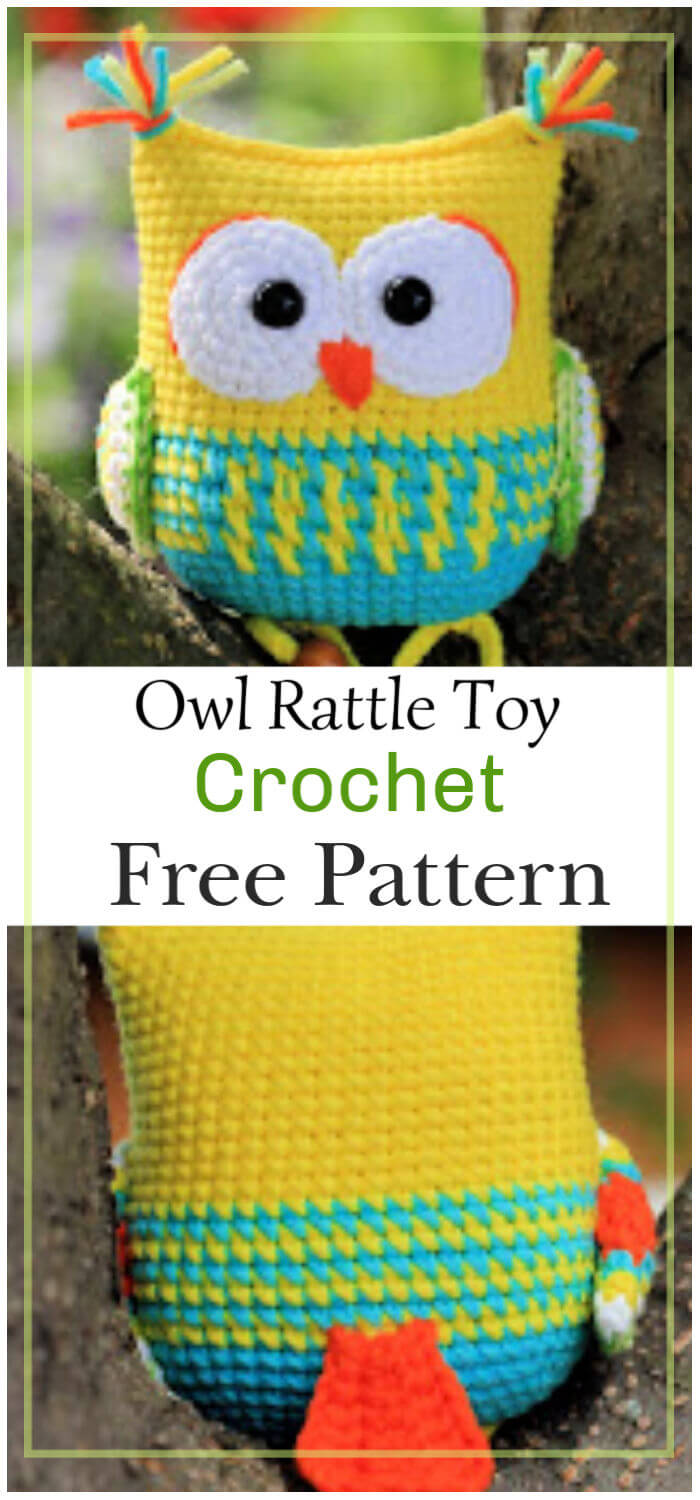 Owl Rattle Toy Free Crochet Pattern