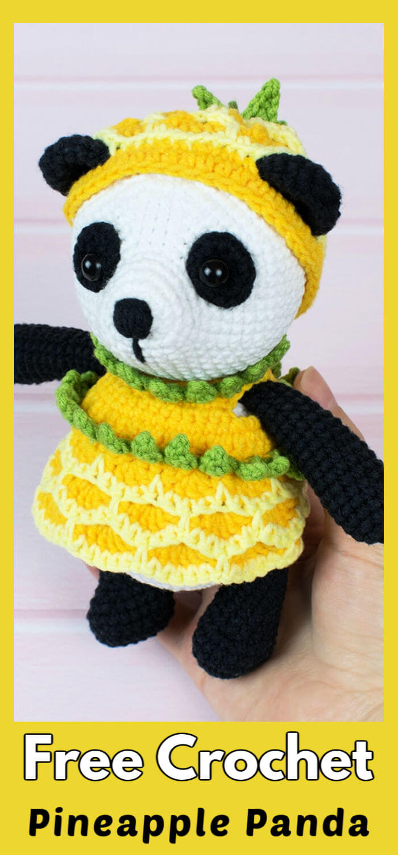 Pineapple Panda Amigurumi Free Crochet Pattern