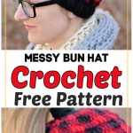 Plaid Messy Bun Hat Free Crochet Pattern