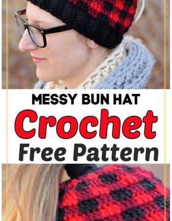Plaid Messy Bun Hat Free Crochet Pattern