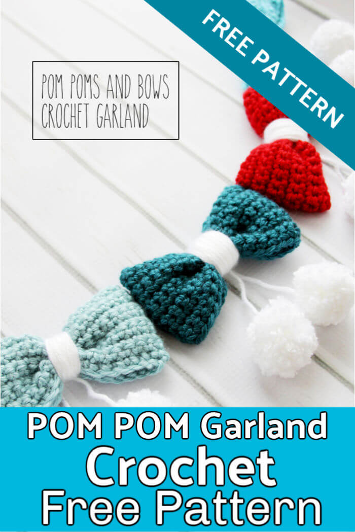 Pom Poms and Bows Crochet Garland Pattern