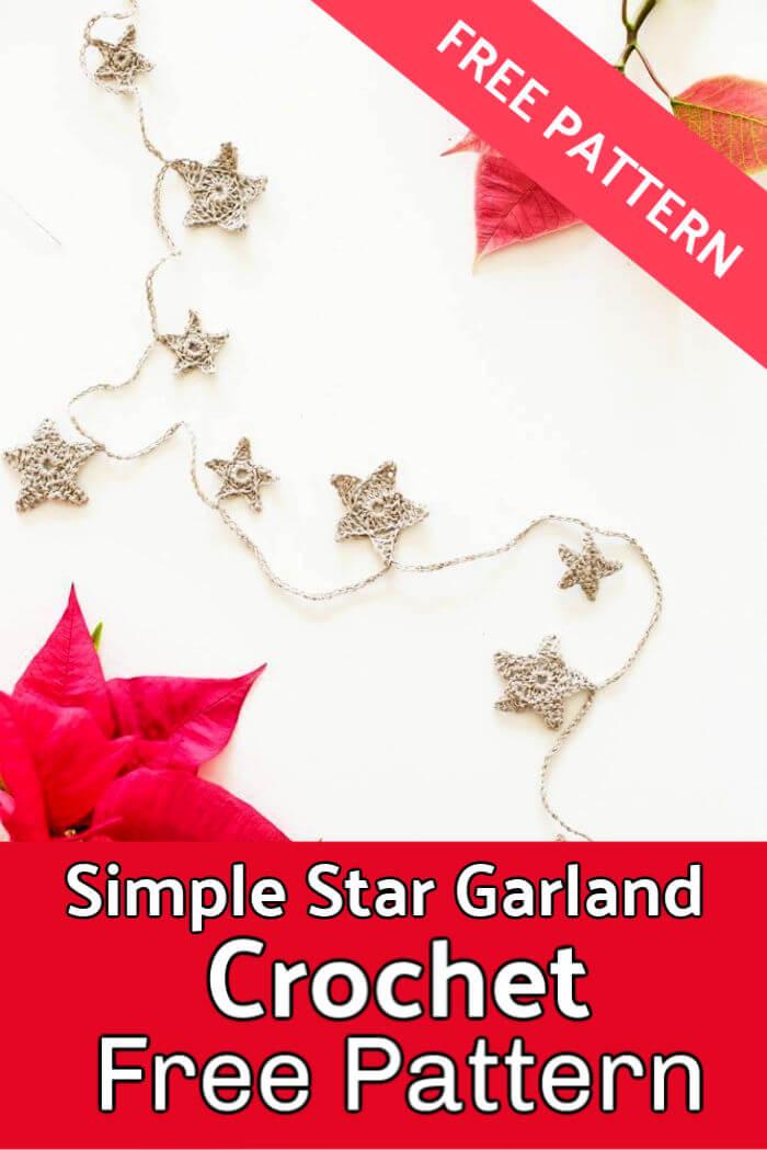 Simple Star Garland Free Crochet Pattern