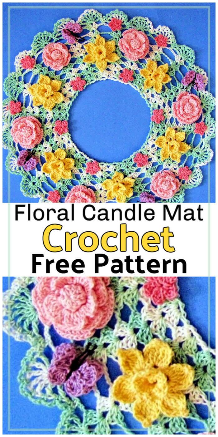Springtime Floral Candle Mat Free Crochet Pattern